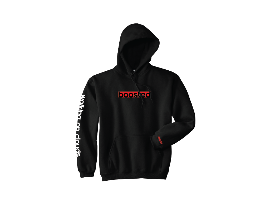 """Image of BOOSTED LONG """"YEEZY BLACK / CLOUD WHITE"""" EMBROIDERY HOODY"""