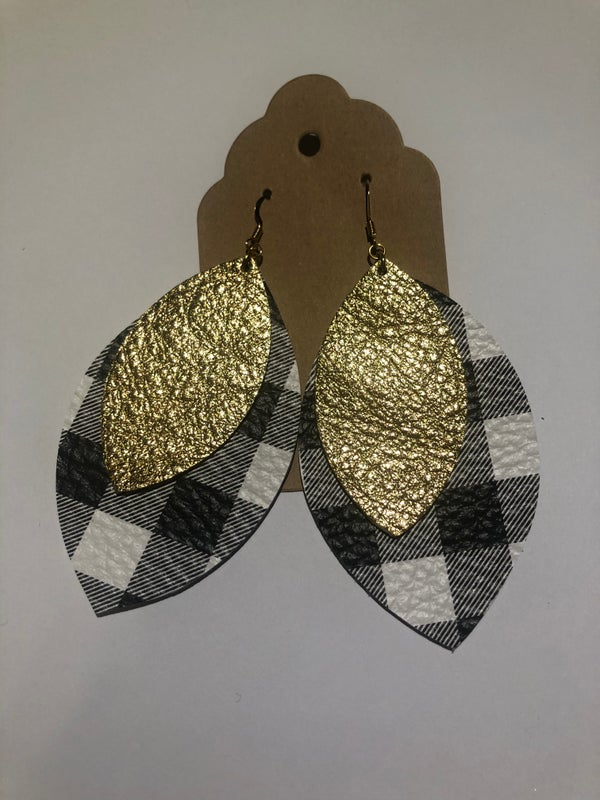 Image of Leather Earrings - Black and White Buffalo Plaid with Gold Double Leaf