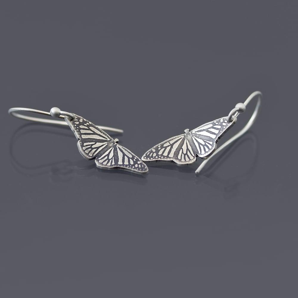 Image of Sterling Silver Monarch Butterfly Earrings