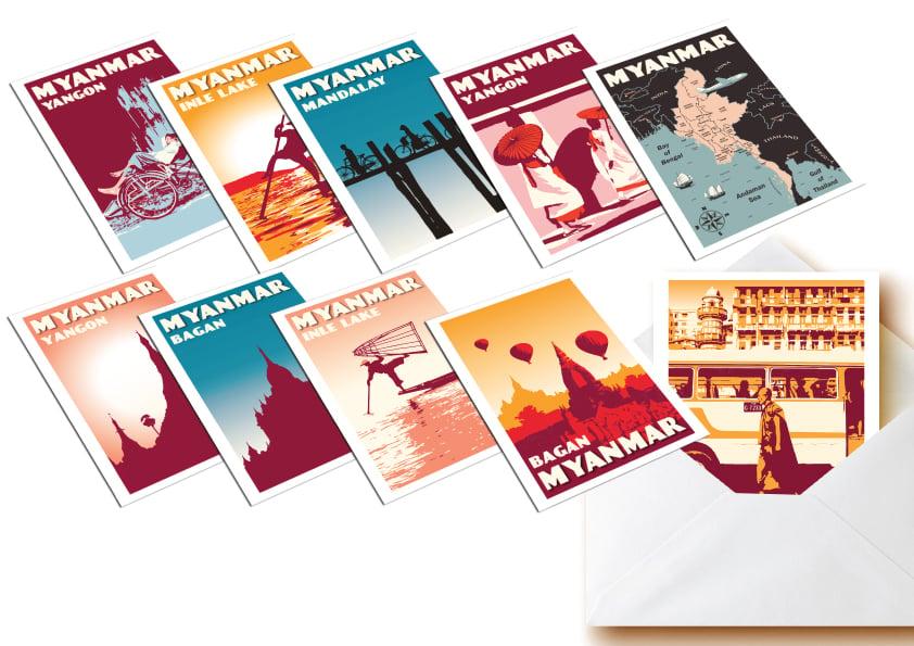 Image of Postcards Myanmar - Set of 10 vintage postcards - Greeting cards - Burma
