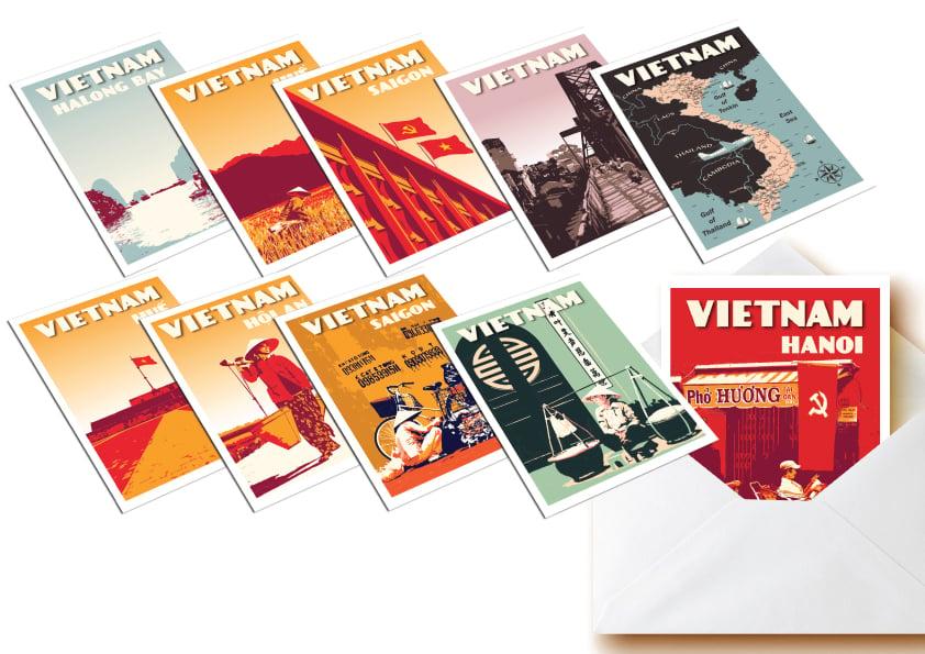Image of Postcards Vietnam - Set of 10 vintage postcards - Greeting cards - Vietnam