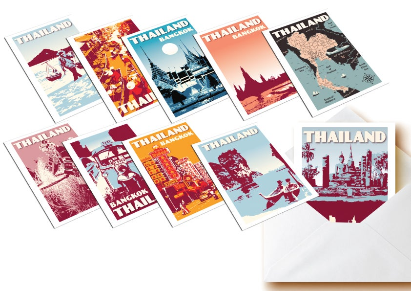 Image of Postcards Thailand - Set of 10 vintage postcards - Greeting cards - Siam