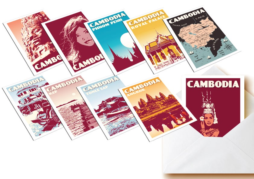 Image of Postcards Cambodia - Set of 10 vintage postcards - Greeting cards - Kampuchea