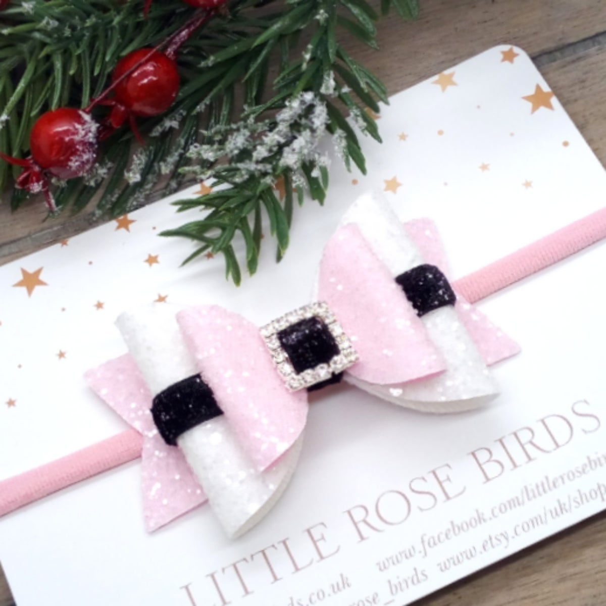 Image of Pink Santa Bow