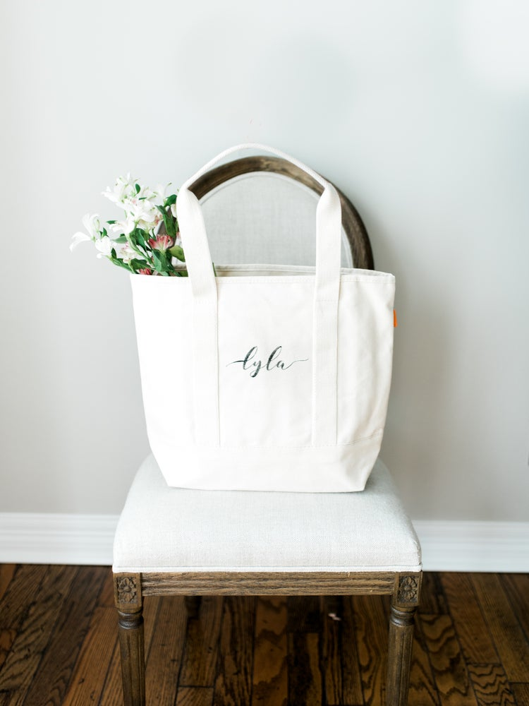 Image of LARGE CANVAS ESSENTIAL TOTE WITH LEATHER STRAPS
