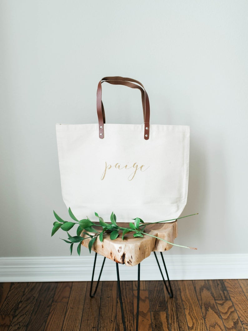 GOLD MONOGRAM LIGHTWEIGHT CANVAS TOTE WITH LEATHER STRAPS