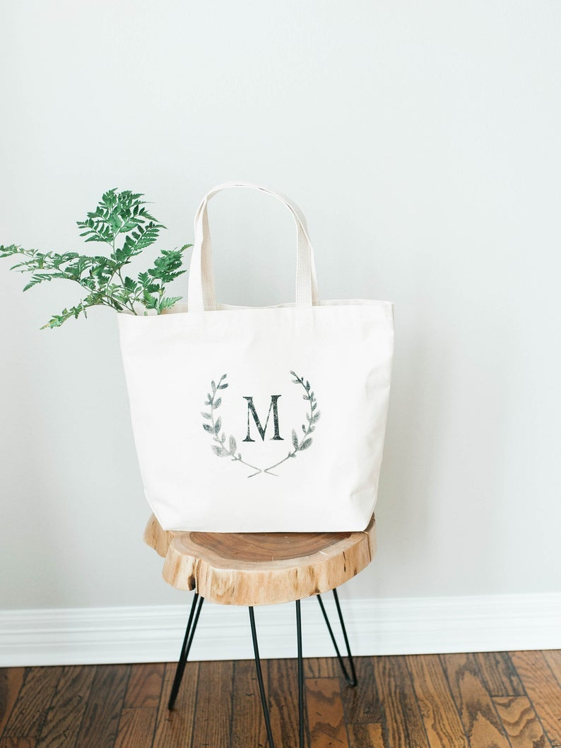 CUSTOM LAUREL WREATH MONOGRAM CANVAS TOTE BAG