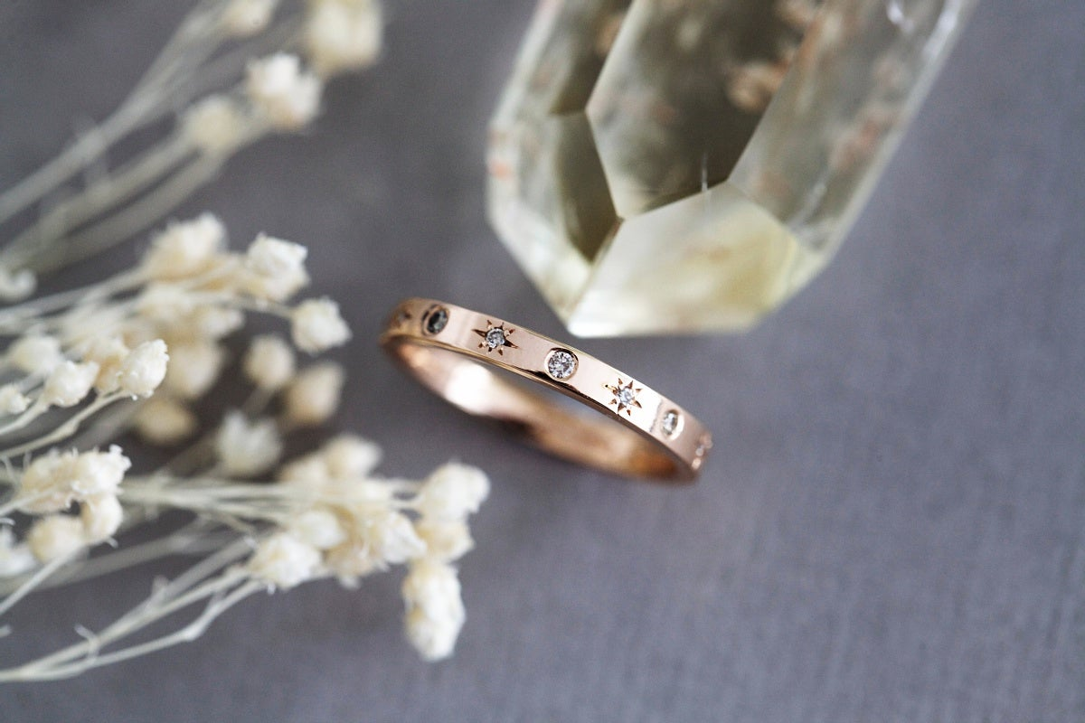 Image of 18ct Rose gold, champagne diamond Celestial ring