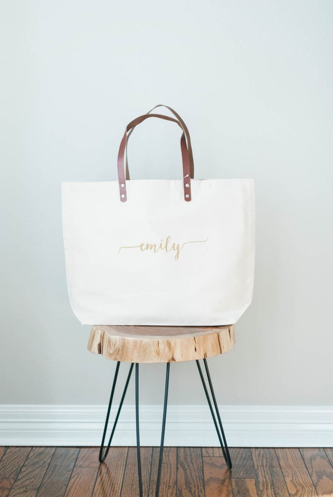 Image of HAND PAINTED GOLD MONOGRAM TOTE WITH LEATHER STRAPS