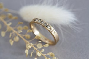 Image of 9ct gold 3mm champagne diamond band