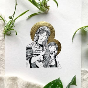 Image of Mother and Child Icon: gold leaf-embellished print