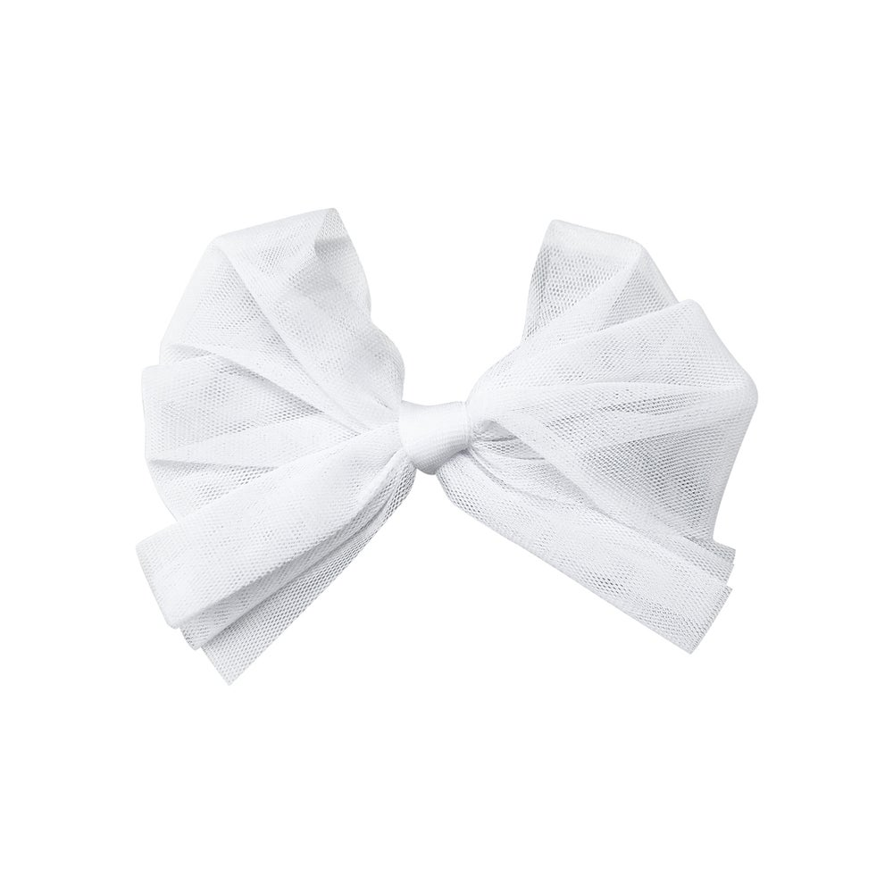 Image of Swan White Tulle Ballet Bow Clip