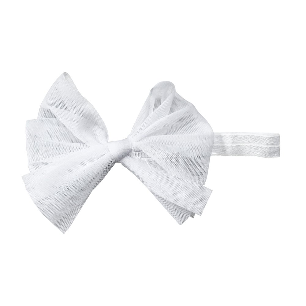 Image of Swan White Tulle Baby Bow Headband