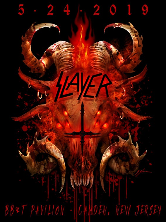 Image of Official SLAYER 'Jersey Hell Beast' Limited Edition New-Jersey Tour Poster.