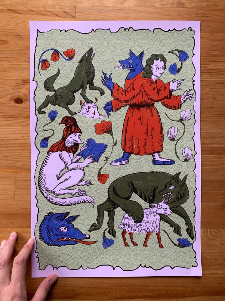 Image of Medieval Wolves Print