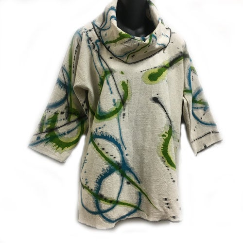 "Image of Alison Tunic - natural colored Cotton/Linen with hand painted ""Dance of the Universe"" design."