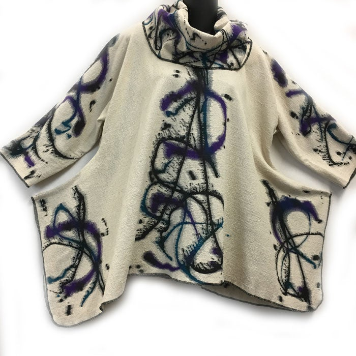 Image of Joy Tunic - Hand Painted Motion Design - purple, teal, black on natural