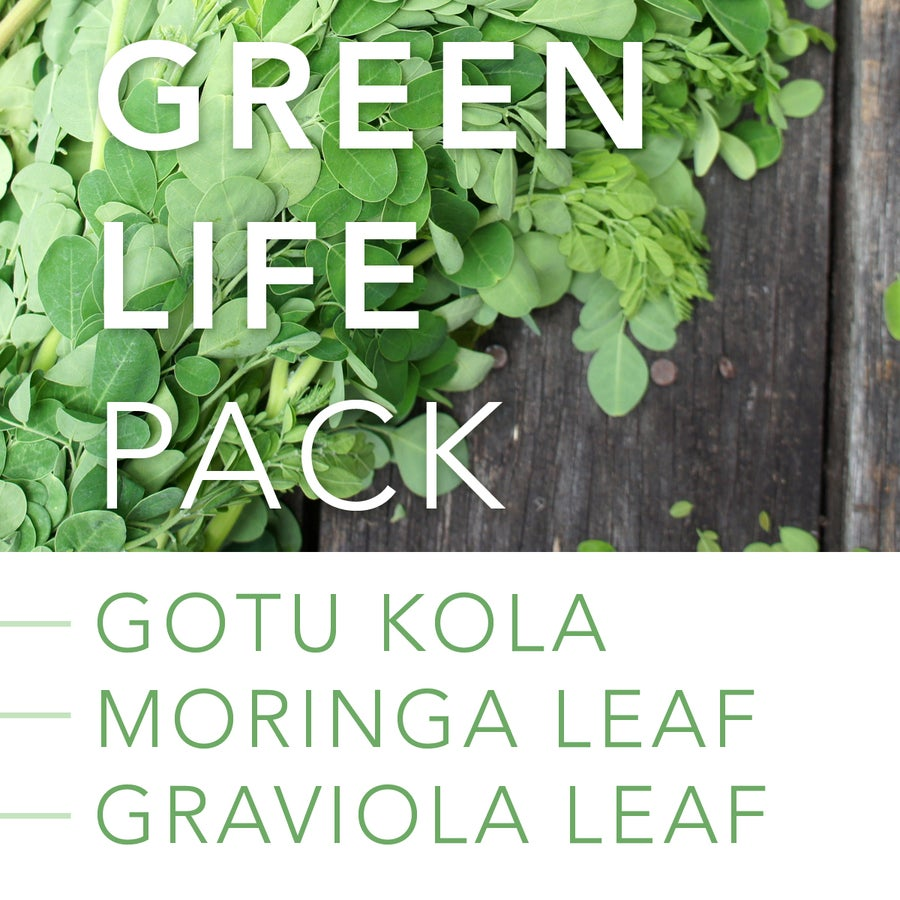 Image of GREEN LIFE PACK: Gotu Kola, Graviola Leaf and Moringa Leaf