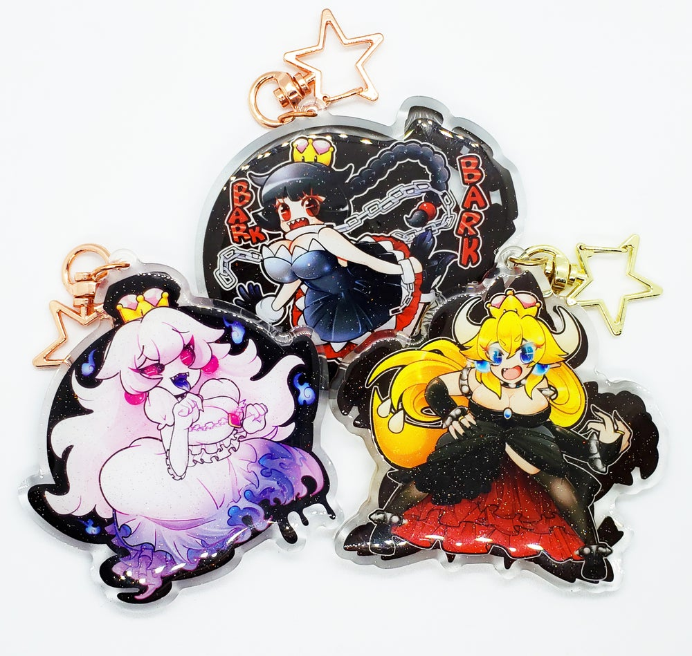 """Image of Nintendo Super Mario Bros. Double-Sided 3"""" Glitter Acrylic Keychain: Bowsette, Boosette, Chompette"""