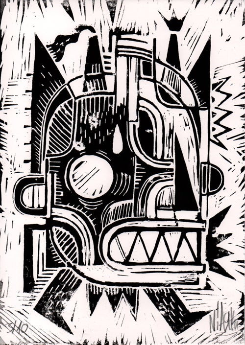 Image of Walk Linocut