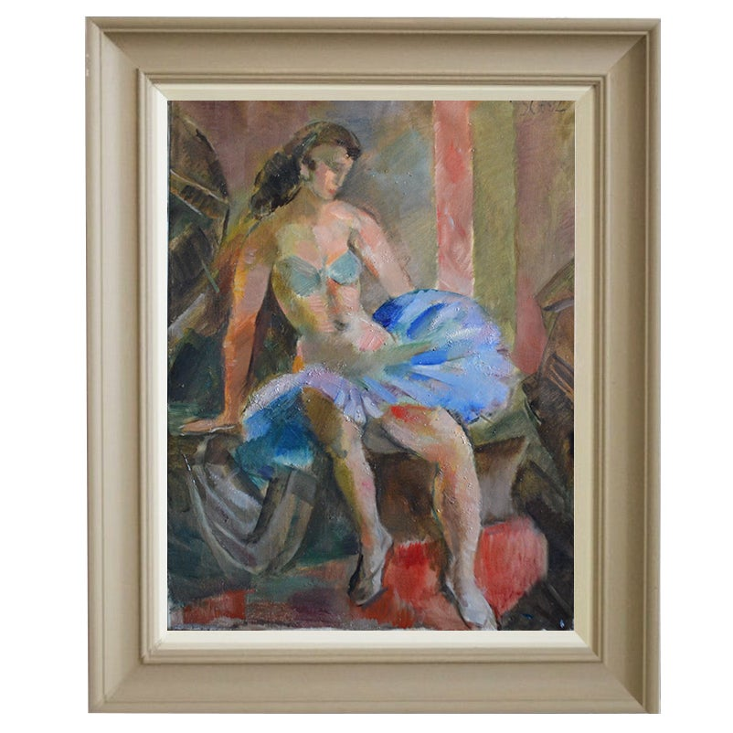 Image of 1950 Swedish Painting, 'Dancer,' JULES SCHYL