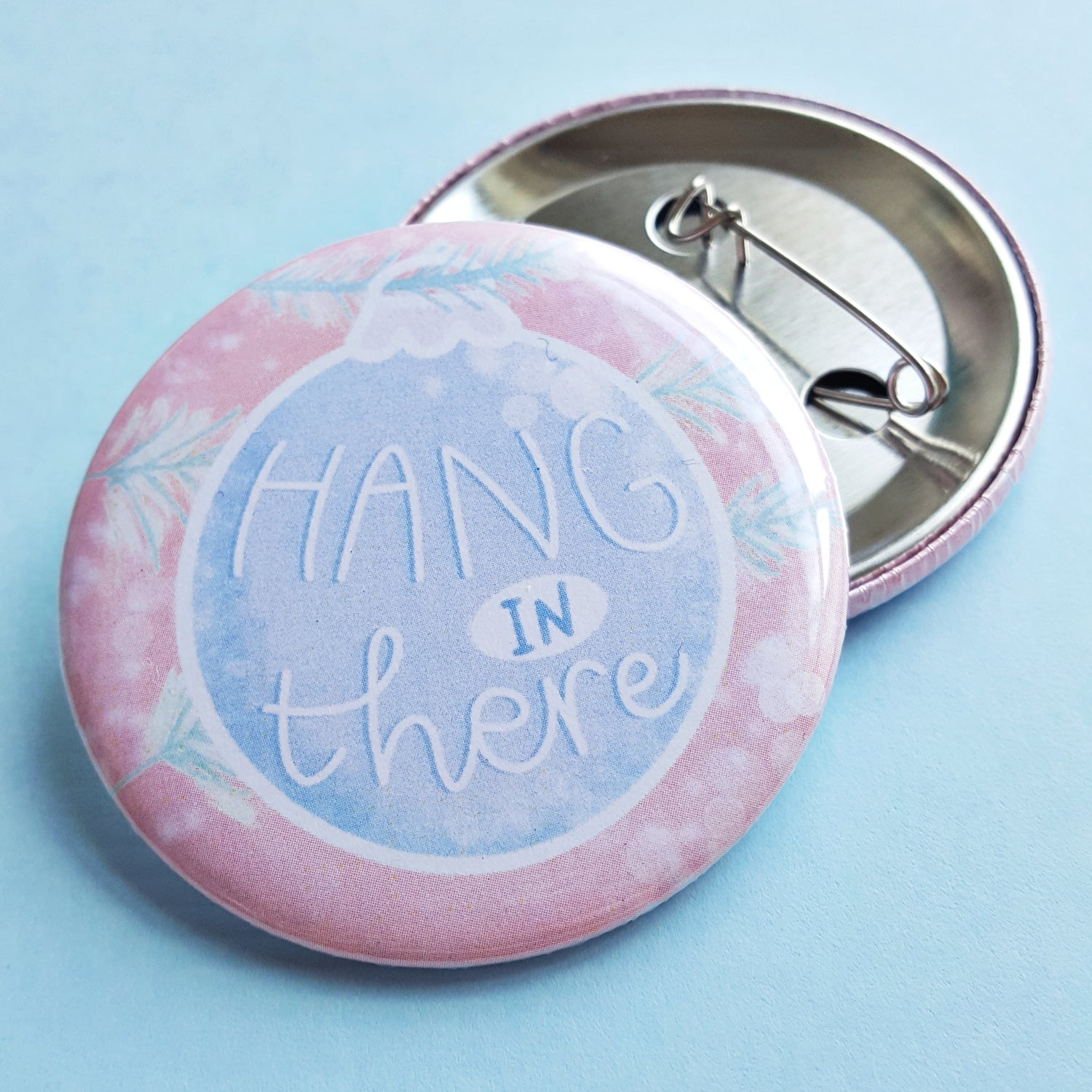 Image of Hang in there - Christmas Bauble Button Badge