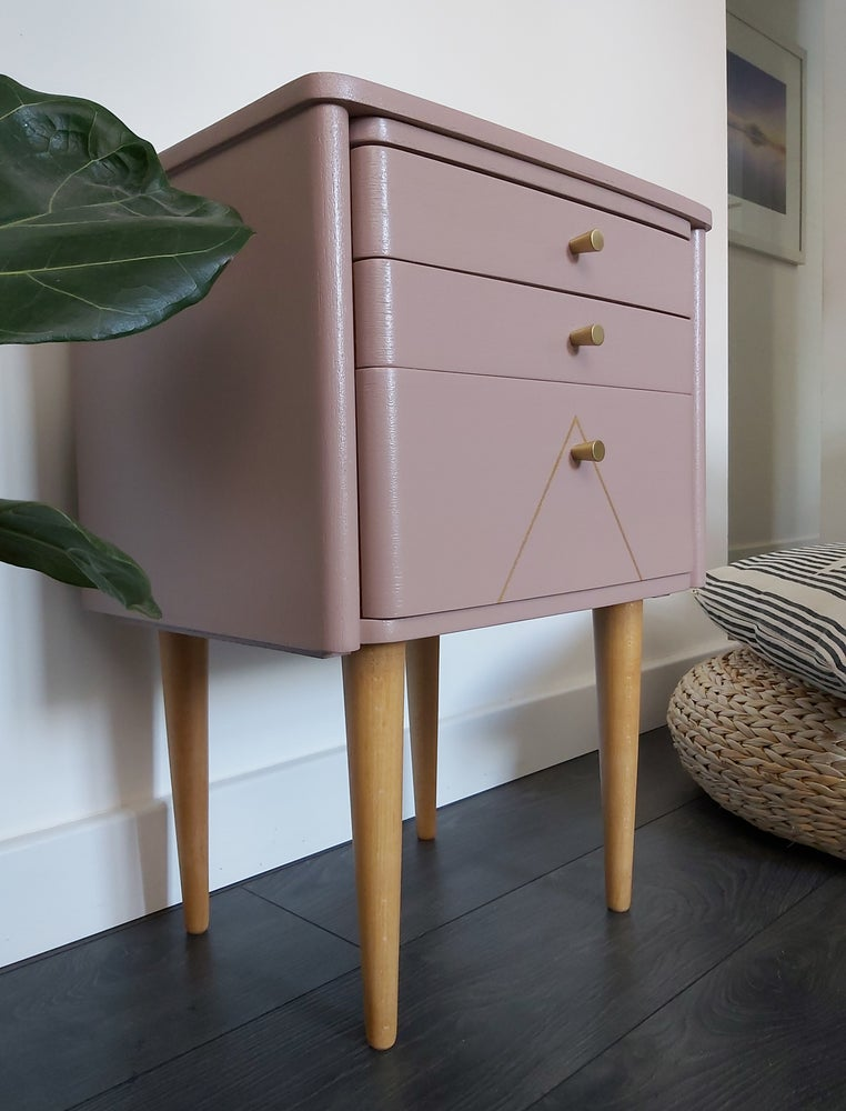 Image of SCHREIBER BENT PLY BEDSIDE CABINET IN SULKING ROOM PINK & GOLD