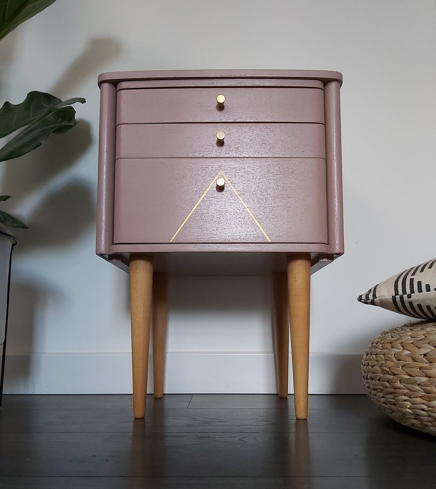 Image of SCHREIBER BENT PLY BEDSIDE CABINET WITH METALLIC GEOMETRICS