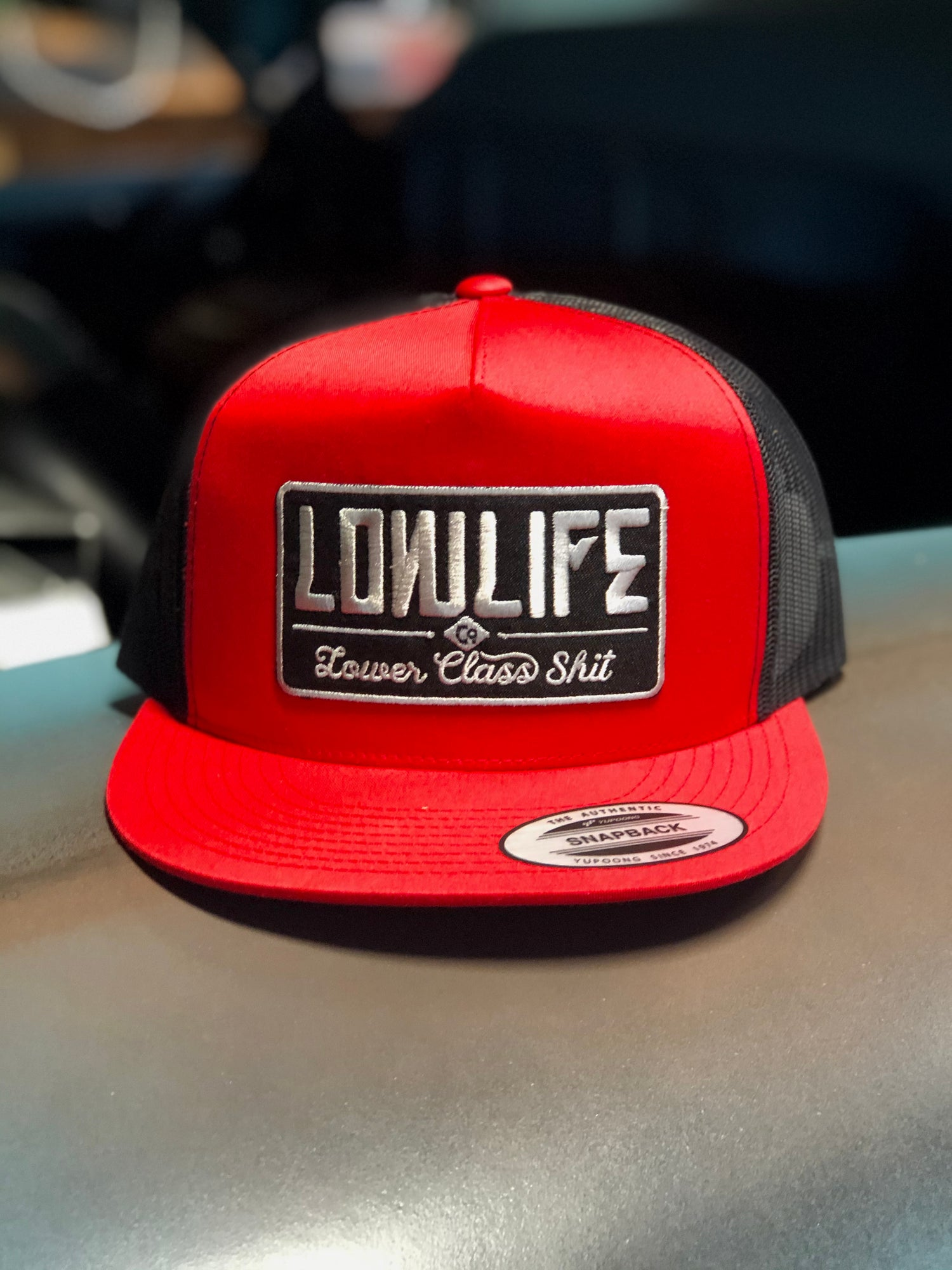Image of Red & Black Lowlife Lower Class Shit Trucker Hat