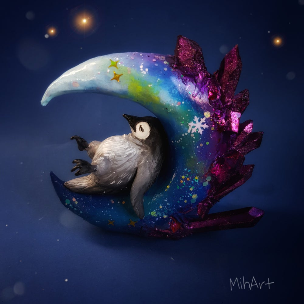Image of Whimsical Crystal Moon Penguin 1