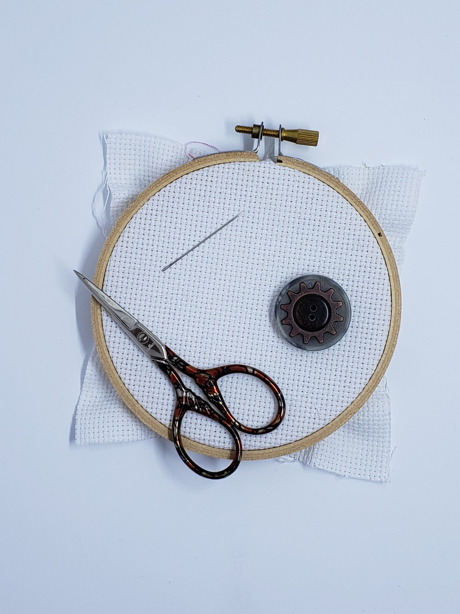 Image of Steampunk Needle Minder - Gray & Copper Gear