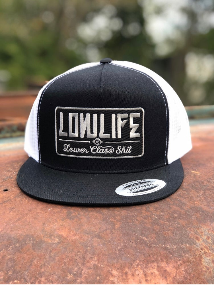 Image of Black & White Lowlife Lower Class Shit Trucker Hat