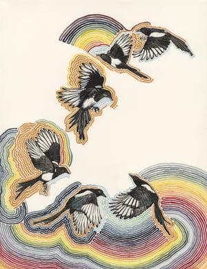 """Rainbow Magpies"" giclee print"