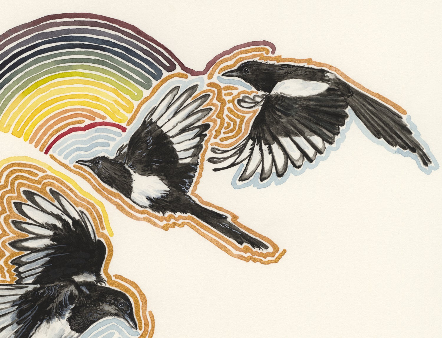 "Image of ""Rainbow Magpies"" giclee print"