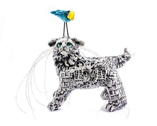 Image of Ceramic Cat and Bird Sculpture - Beeble Cat  and Bossy Bird