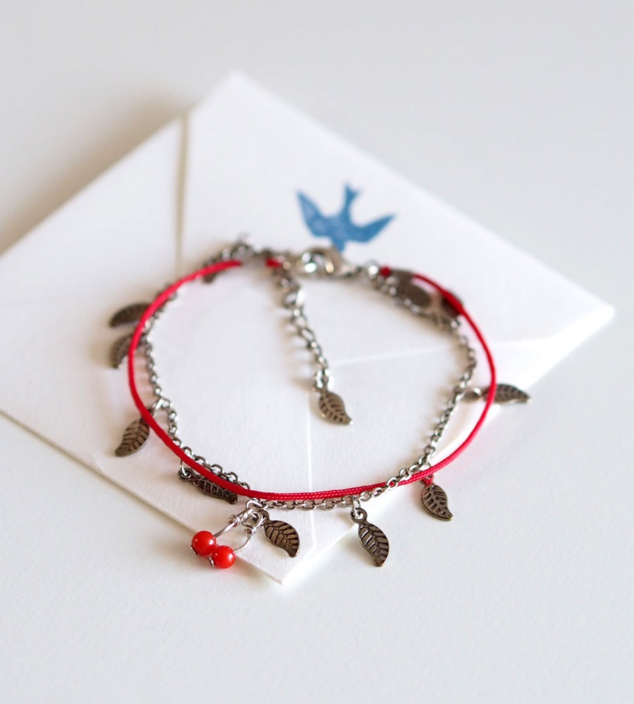 Image of Bracelet Cerises Feuilles - Plaqué Argent