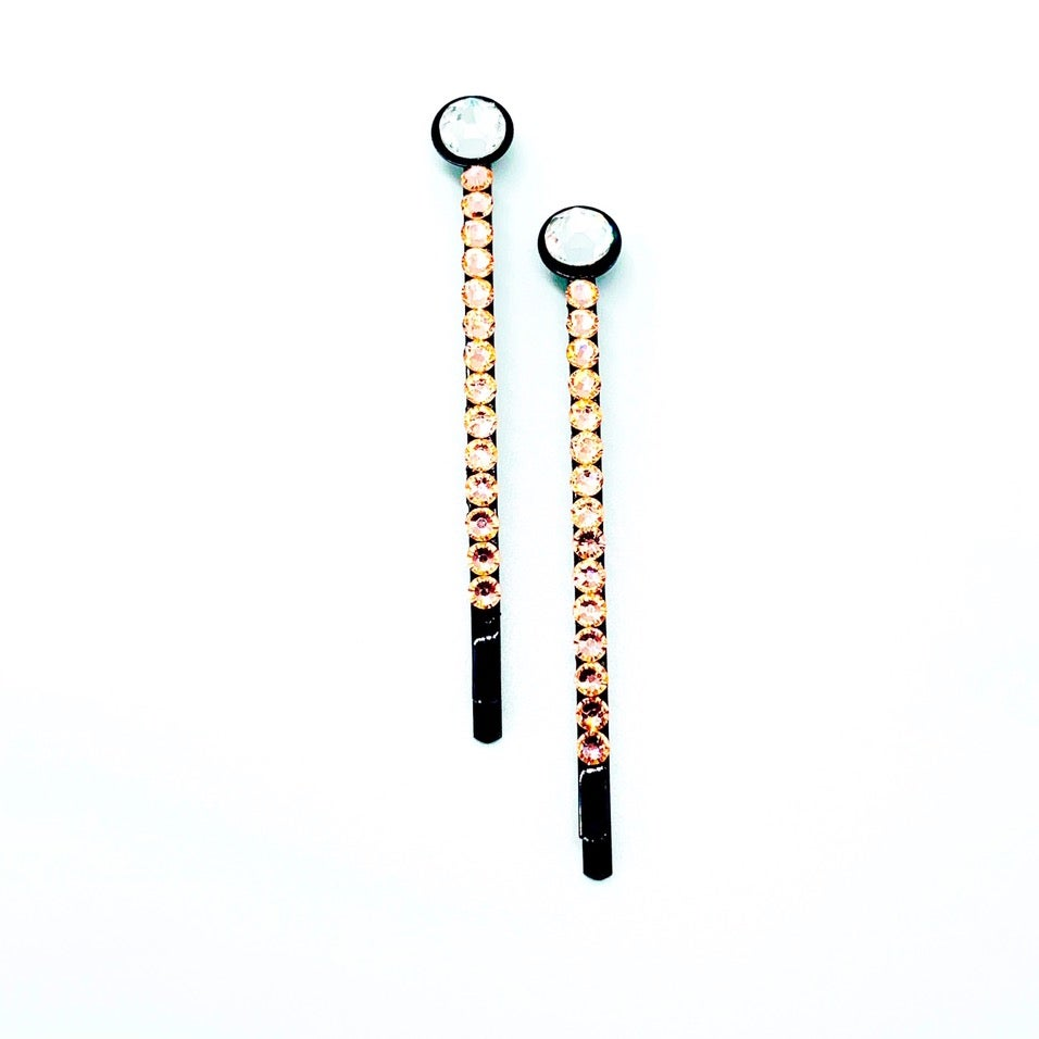 """Image of """"Peach Bellini"""" Crystal Bling Hair Bobby Pins"""