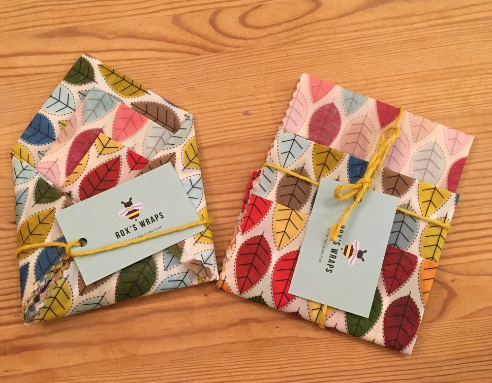 Image of Beeswax Wraps - Leaves - Pack of 3