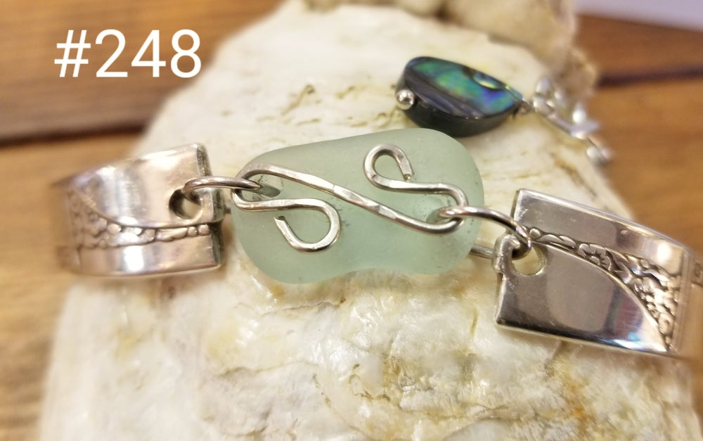 Image of Vintage-Flatware-Sea Glass-Bracelet-#248