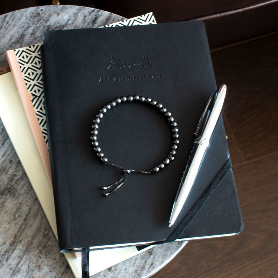 Image of 33 Bead Tasbih Bracelet Round Hematite - Gun Metal Grey by Safar London