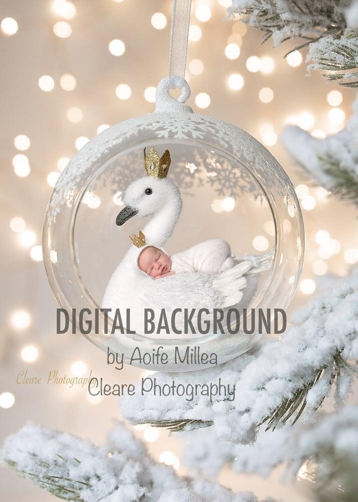 Image of newborn Christmas decoration digital backdrop