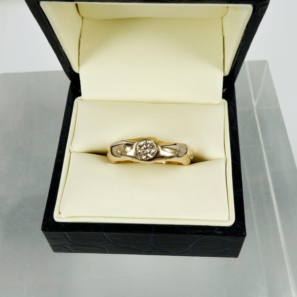 Image of 14ct Rose Gold Men's Organic Wedding Band Set With Cognac Diamond