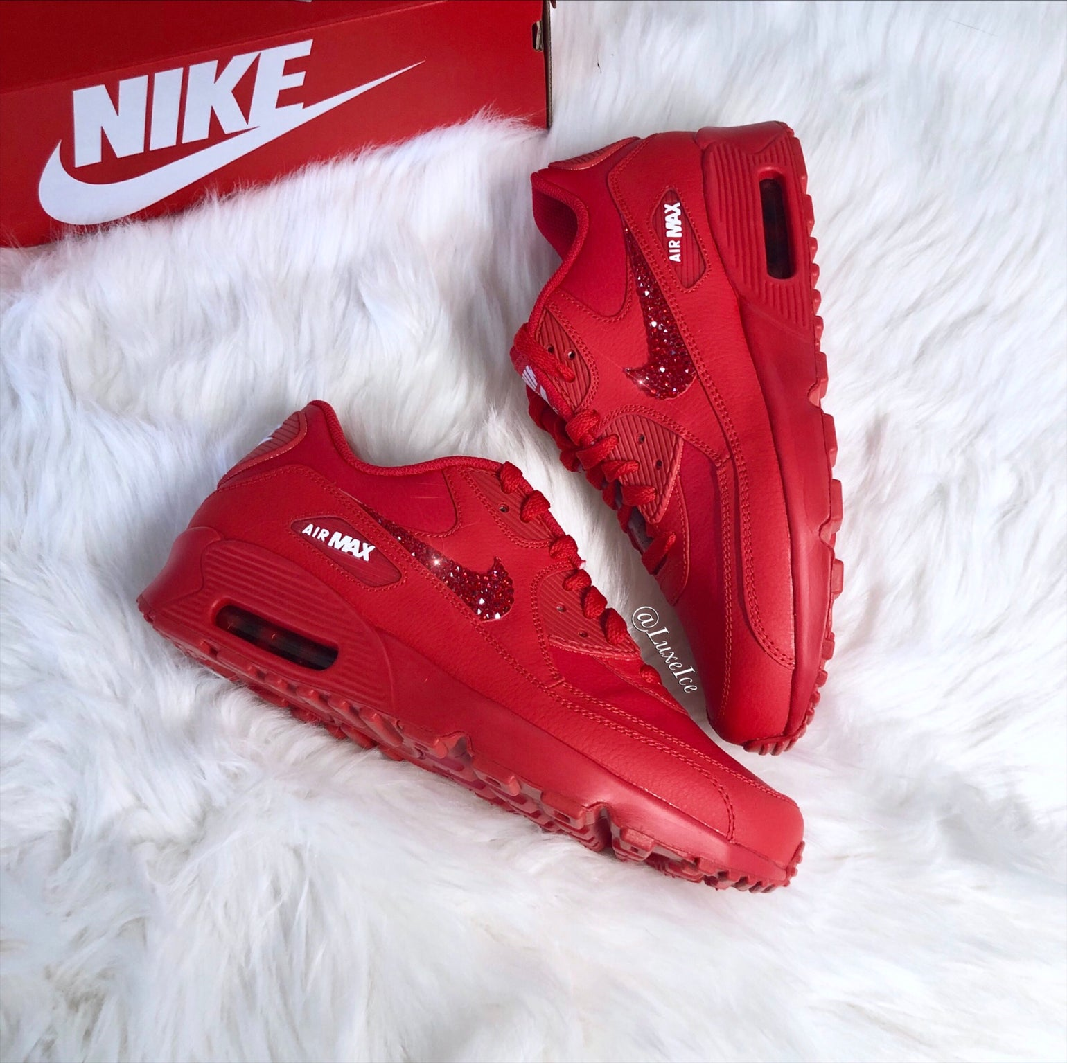 Image of Swarovski Nike Air Max 90 Casual Shoes Red customized with SWAROVSKI® Crystals.