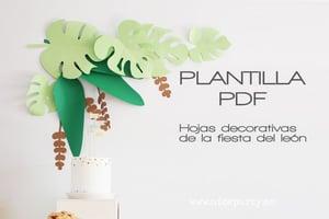 Image of Plantilla imprimible León y hojas de la selva
