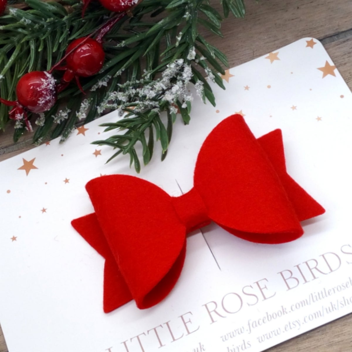 Image of Red Felt Bow on a Headband or Clip - Choice of Size