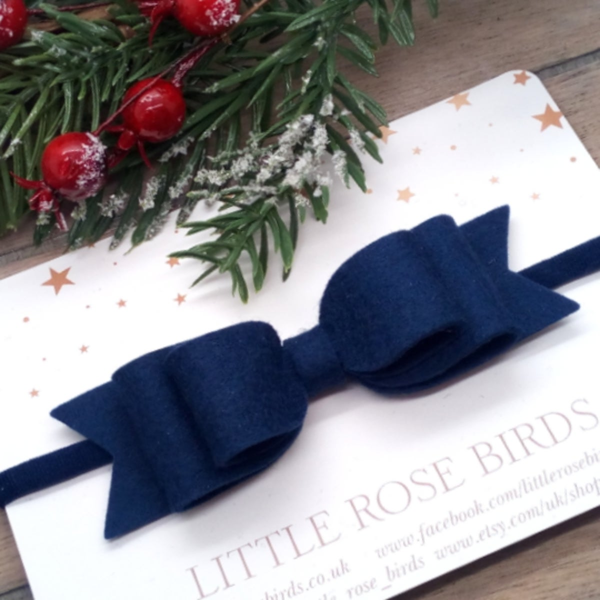 Image of Navy Blue Double Bow - Headband or Clip