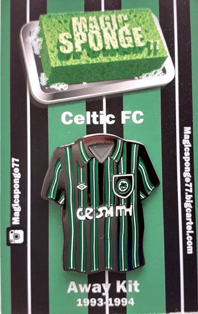 Image of Out Now 1993-1994 Celtic FC Away Kit Pin.