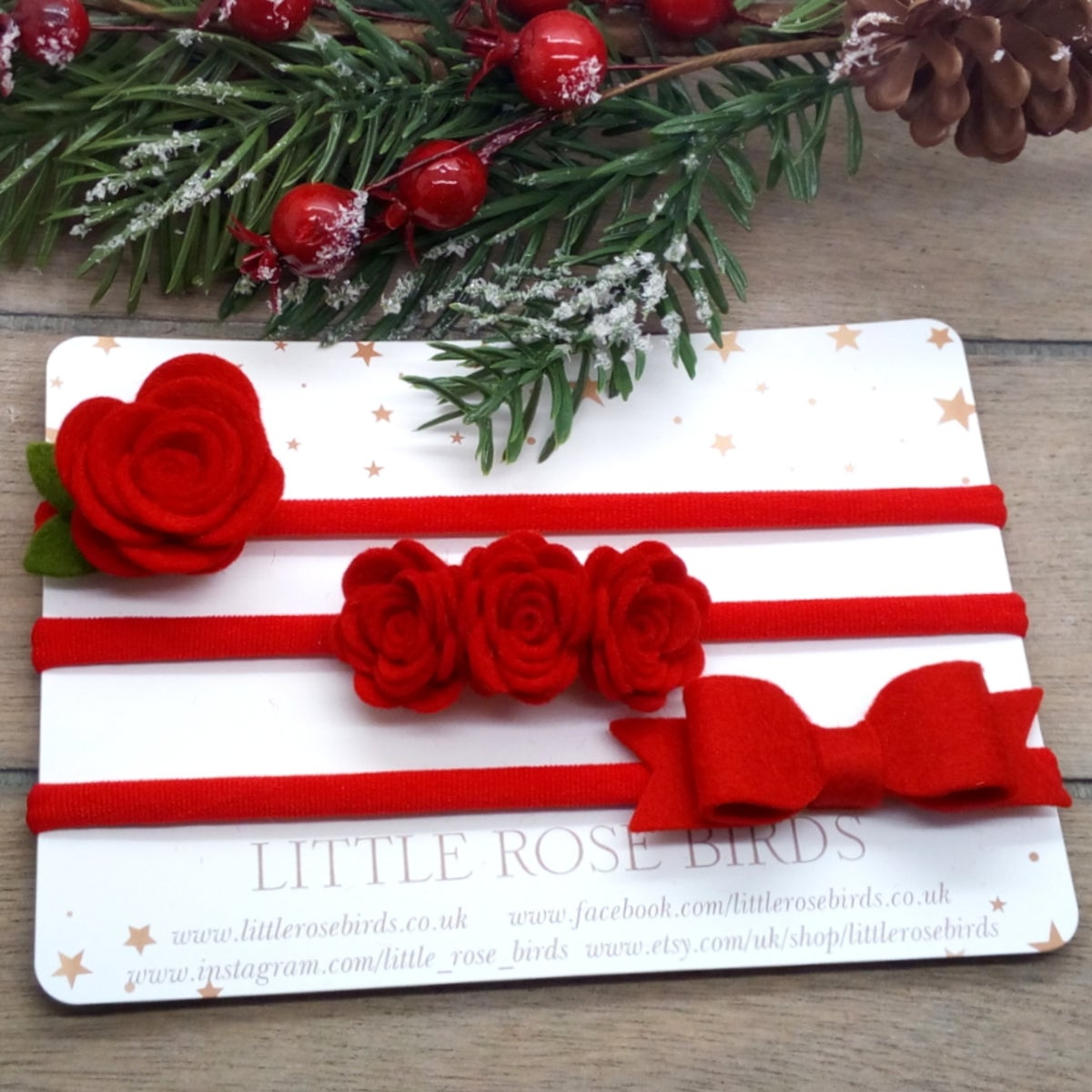 Image of SET OF 3 Red Bows - Headband or Clip