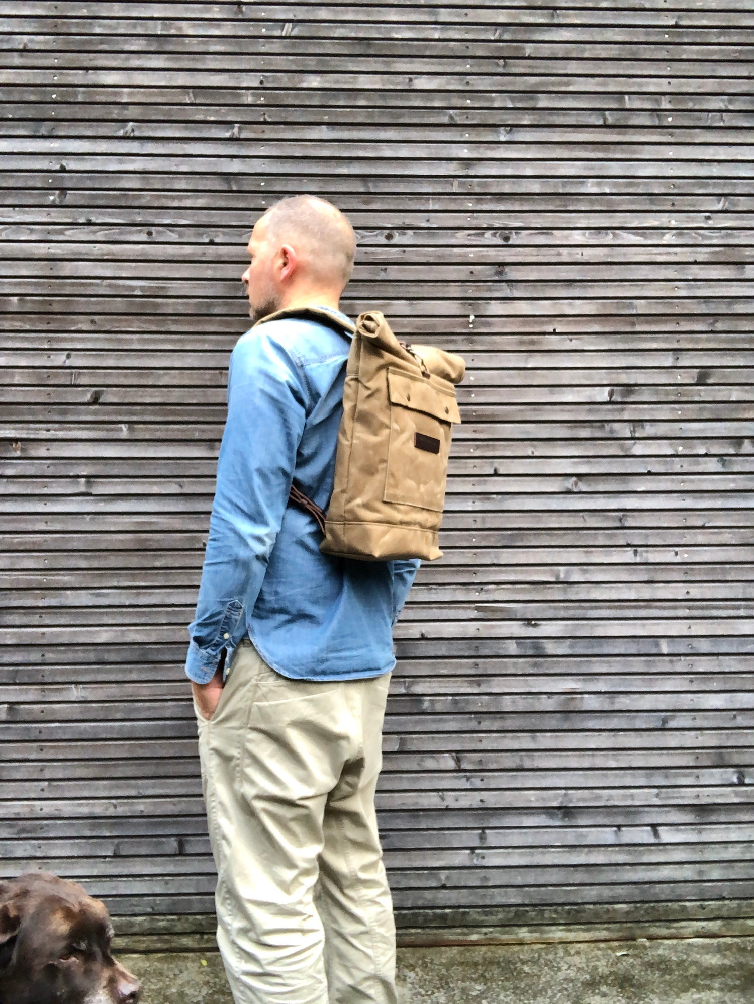 Image of waxed canvas backpack / waterproof backpack with padded shoulder straps
