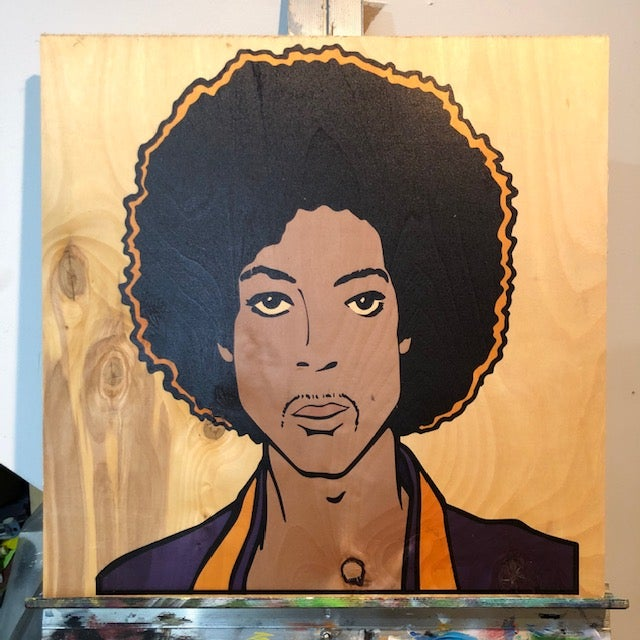 "Image of Prince On Wood - 19"" Square Birch"